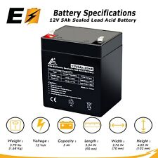 12V 5AH Sealed Lead Acid Battery for Alarm System, Home Security replaces UB1250