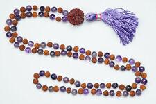 MALA BEADS 108 JAPAMALA AMETHYST RUDRAKSHA KNOTTED BUDDHIST NECKLACE SPIRITUAL