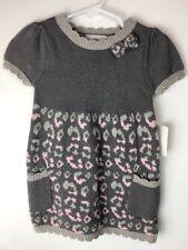 NWT SAVANNAH Kids Girls Short Sleeve Dress Size 2T Gray with pink designs