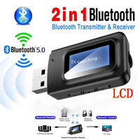 LCD Bluetooth 5.0 Audio Receiver Transmitter USB 3.5mm Stereo for Car TV PC