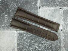 OMEGA 20mm Dark Brown Leather Deployment Strap Brown Stitch Watch Band Seamaster