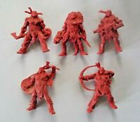 5pcs Indians Fantasy Battles Plastic Toy Soldier 54mm 1/32 scale Tehnolog red