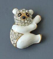 Adorable  vintage Panda brooch in enamel on gold tone metal with crystals