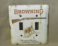 Browning Superposed Shotgun with Hunting Dog - Metal Double Light Switch Cover