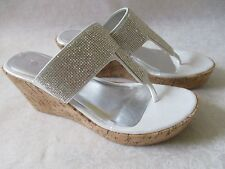 YELLOW BOX PROVA SILVER RHINESTONE WEDGE SHOES SIZE 8 - NEW