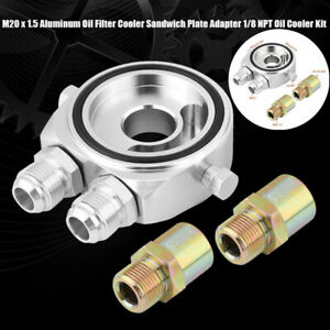 10AN Oil Filter Sandwich Plate Adapter 1/8 NPT Oil Cooler Kit M20 x 1.5 Silver