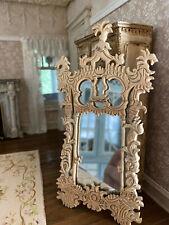 Vintage Miniature Dollhouse Artisan Ornate Carved Wood Entry Hall Wall Mirror