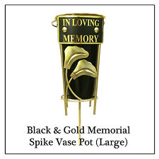 Spike Memorial Vase - Large Gold Leaf Flower Pot for cemetery sympathy graves