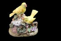 Porcelain Yellow Bird with Nest Sculpture Music Box Tune Memories