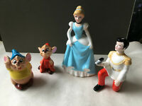 Vintage Disney Japan Ceramic Cinderella Prince Charming Jac & Gus Figurine Set