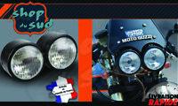 Phare Avant Double Noir OU Chrome Moto Harley Café Racer Scrambler Guzzi Triumph