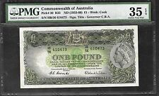 Australia Paper Money - 1 Pound (1953/60) P30 - PMG 35 Choice VF EPQ