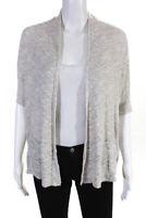 Eileen Fisher Womens Short Sleeve Open Front Cardigan Sweater Beige Size MP