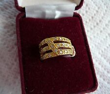 Women's size 5 Goldtone & Clear CZ  Band Ring New in Box Premier Designs