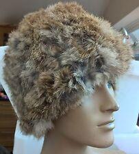 natural brown real genuine rabbit fur wool knitted hat head warmer unisex