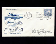Opc 1964 Canada 8c Rate Dc-8F Fdc Sc#436 Rose Craft Cachet