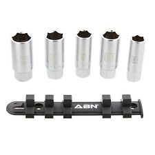 ABN 3/8 IN Dr SAE Metric Spark Plug Socket Set 6 Pt Rubber Rings and Rail 5pc