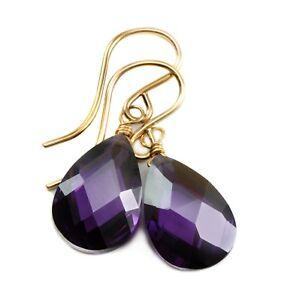 14k Gold Cubic Zirconia Earrings Sim Purple Amethysts CZ Sterling Facet Dangles
