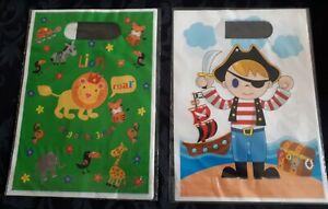 CHILDREN'S PARTY FAVOR BAGS 10 PACK, PIRATE, JUNGLE, TREAT, UK SELLER