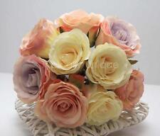 WEDDING VINTAGE PINK LILAC CREAM ROSE BOUQUET LONG STEM ARTIFICIAL SILK FLOWERS