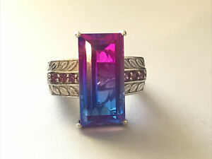 STS Chuck Clemency Sterling Silver Large Rainbow Gemstone Ring Sz 7