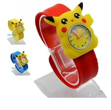 Kids 3D Pokemon Pikachu Cartoon Novelty Watch Analog silicon slap strap UK Stock