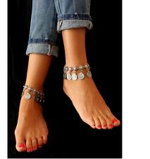 Boho Silver Tone Coin Tassel Tribal Ethnic Anklet Bracelet Tassel Holiday Gift