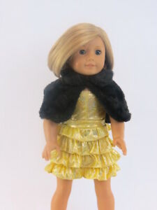 """For American Girl 18"""" Dolls Outfit Gold Glamour Girl Dress Brand New In Package"""