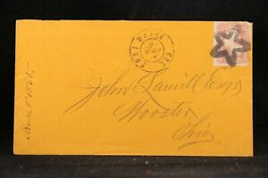Indiana: Fort Wayne 1865 #65 Cover, XF Unusual Large Star in Star Fancy Cancel