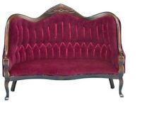Dollhouse Miniatures 1:12 Scale Victorian Sofa, Walnut with Red #CLA10967