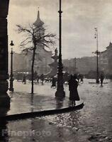1921/72 Vintage 11x14 CITY STREET CORNER Rain Budapest Hungary Art ANDRE KERTESZ