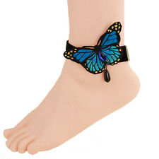 Girls Dream Blue Butterfly Ankle Ring Foot Sandal Beach Wedding Ankle Bracelet