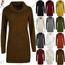 Cowl Neck Long Sleeve Dresses for Women with Cable Knit