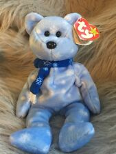 Ty Original Beanie Baby 1999 Holiday Teddy Blue SnowFlake with errors