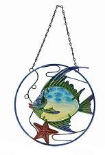 Wall Art Glass / Metal Coral Fish in Circle (55981)