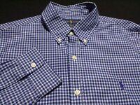 Ralph Lauren Mens Large Slim Fit L/S Button-Down 100% Cotton Blue Plaid Shirt