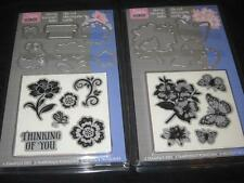 LOT 2 HERO ARTS, SIZZIX CLEAR MOUNT RUBBER STAMP SETS WITH MATCHING DIES