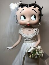 12� Danbury Mint All Bisque Betty Boop Wedding Bride Jointed Limbs W/ Stand #Cc