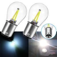 2x 1157 BA15D DC 12V White COB LED Bulb Tail Car Reverse Backup Brake Light Lamp