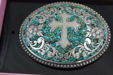 Nocona Belt Buckle Oval Cross with Turquoise Belt Buckle  M & F Western 37914