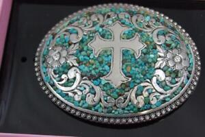 Nocona Belt Buckle Oval Cross with Turquoise Belt Buckle  M & F Western 37914