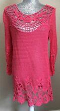 CAPRI Women Sz L/XL Orange (Pinkish) Open Knit Embroidered 3/4 Sleeve Tunic Top