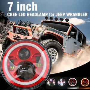 7'' Round Hi/Lo Beam Red Inner LED Headlight Projector For Harley Jeep Wrangler