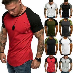 Mens Raglan Shirt T Shirt Top Short Sleeve Crew Neck Contrast Colours TS03