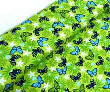 Jersey Öko Tex Stoff Schmetterlinge hellgrün grün Insekten Schmetterling 24475