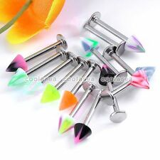 20x Mixed Steel Bar Colorful Taper UV Top 16g Labret Lip Rings Barbell Piercing