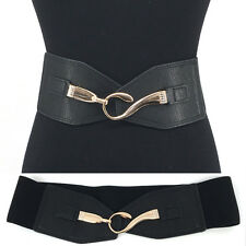 WOMEN Western Fashion Bling Gold Metal Hook WAIST HIP WIDE ELASTIC BELT Stretch