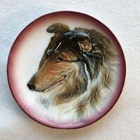 Vintage Hal Sey Fifth Japan Ceramic Hand Painted Sheltie Collie Dog Dish