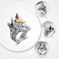 Punk Ring Egyptian Wolf Stainless Steel Anubis Rings Knuckle Jewelry Gifts HL