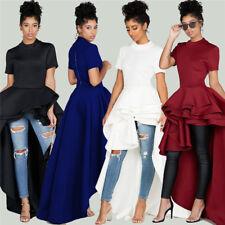 Fashion Women XXL Plus Size Shirt Dress Short Sleeve High-low Peplum Party Dress
